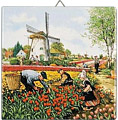 Dutch Tile, Color Tulip Pickers, 6