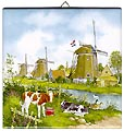 Dutch Tile, Color Three Windmills, 6