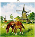 Dutch Tile, Windmill with Horses, 6