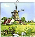 Dutch Tile, Color Windmill with Swans, 6