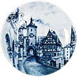 Decorative Plate, Blue European Village, 8.25 D