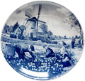 Delft Blue Decorative Plate - Tulip Pickers, 9.5 D