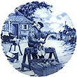 Decorative Plate, Delft Blue Clog Maker 7.5 D