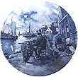 Decorative Plate, Delft Blue Fisherman 7.5D