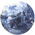 Delft Blue Decorative Plate - Fisherman 9.5D
