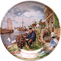 Color Decorative Plate - Fisherman 9.5D