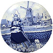 Decorative Plate, Delft Blue Tulip Girl 8.25 D