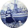 Delft Blue Decorative Plate - Tulip Girl 9.25 D