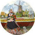 Color Decorative Plate - Tulip Girl 9.25D