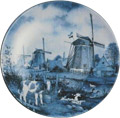 Delft Blue Decorative Plate - Three Windmills with Calves 9.25 D