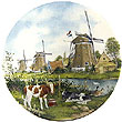 Color Decorative Plate - Three Windmills with Calves 8.25D