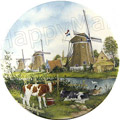 Color Decorative Plate - Three Windmills with Calves 9.25D