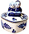 Delft Blue Dutch Couple Figurine, Heart Box, 3 H
