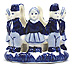Delft Blue Votive Candle Holder - Children in a Circle, 2.5 H
