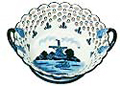 Delft Blue Windmill Basket with Cut Work, 9 D