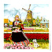 3  Tulip Girl Color Tile, Refrigerator Magnet