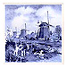 3  Windmill Tile with Magnet-Blue