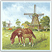 3  Windmill with Horses Color Tile, Refrigerator Magnet