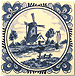 3  Mini Tile Magnet, Antique Delft Windmill Scene w/ Fancy Border