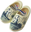 Blue Wooden Clog Shoes, Adult's Size 7-8