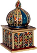 Taj Mahal Enamel Trinket Box with Rhinestones, 2.75H