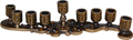 Enamel Jeweled Menorah Candle Holder - Amber, 8L