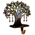 Enamel Jeweled Tree of Life Mantel Hook, 6H x 2W