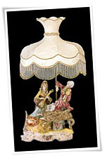Capodimonte lamp and shade with duo musicians figurine