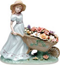 Girl with Flower Cart, Miniature Porcelain Figurine - 8-3/4 H