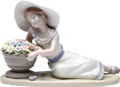 Girl with Flower Pot, Miniature Porcelain Figurine - 7-5/8 L