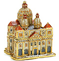 Italy Souvenir Vatican Church Enamel Jeweled Trinket Box - 3.5 H