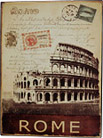 Rome, Italy Souvenir Postal Themed Metal Wall Plaque - 13.75L
