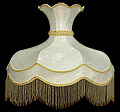 Lamp Shade, 21 D Round White Shade with Beads