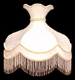 Lamp Shade, 16 D Round Cream-Color Shade with Beads