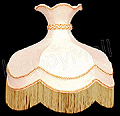 Lamp Shade, 16 D Round Cream-Color Shade w/ Fringe