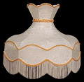 Lamp Shade, 22 D Round Cream-Color Shade with Fringe