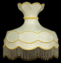 Lamp Shade, 23 D Round Cream-Color Shape with Beads