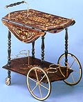 Walnut Tea Cart w/Mandolin Design