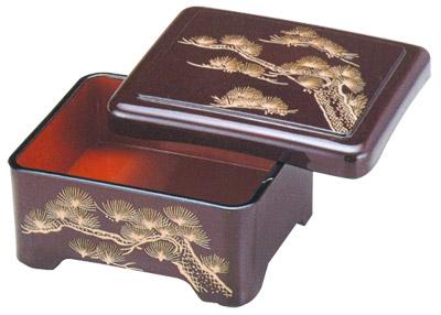 "Fancy Unagi Bento Box with Lid - Pine Tree , 6.5""x5.5"""