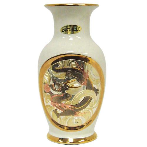 Chokin Vase In Dragon Theme Ivory 6H