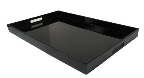 black serving tray w handles 19 x12. Black Bedroom Furniture Sets. Home Design Ideas