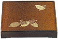 Gold Color Bento Box with Footed Cover, Leaf - 12 x10