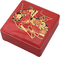 Red Lacquer Stack Box with Fans, 5-1/4W
