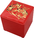 3 Tier, Red Lacquer Stack Box with Fans, 5-1/4W
