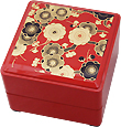 2-Tier Floral Red Lacquer Box, 5-1/2 SQ