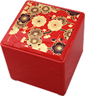 3-Tier Floral Red Lacquer Box, 5-1/2 SQ