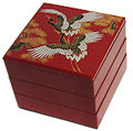 3 Tier, Red Lacquer Stack Box w/ Cranes, 7-3/4 W