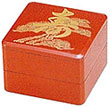 2-Tier Longevity Red Lacquer Box, 4-1/2 SQ