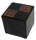 3 Tier, Black Lacquer Stack Box - Pine Needles, 7-3/4W