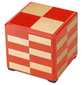 3 Tier Stack Lacquer Box - Red/Gold Checker, 7-3/4 SQ
